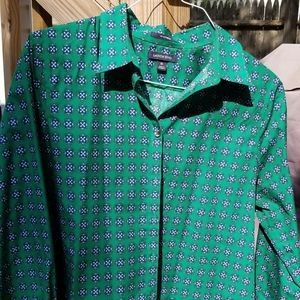 Lands' End Green Button Up Shirt- Size 16